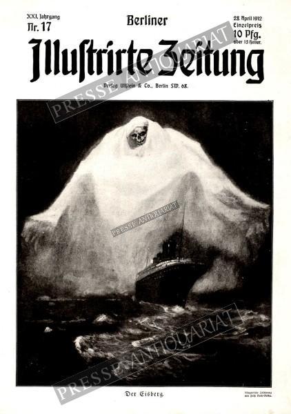 Berliner Illustrirte Zeitung 1912: Der Eisberg. (Titanic) Allegorische Zeichunung von Fritz Koch-Gotha.