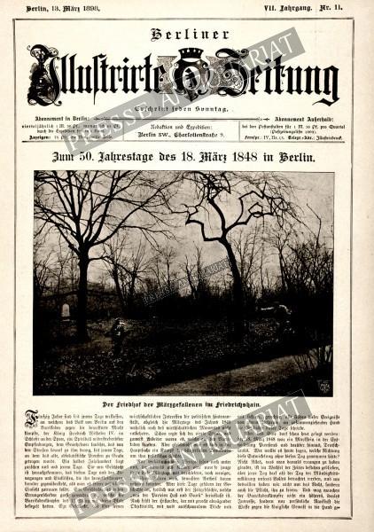 Zum 50. Jahrestage des 18. März 1848 in Berlin. Der Friedhof der Märzgefallenen im Friedrichshain.